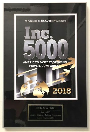 Neta Scientific Inc has been honored by Inc. Magazine for the Inc. 5000